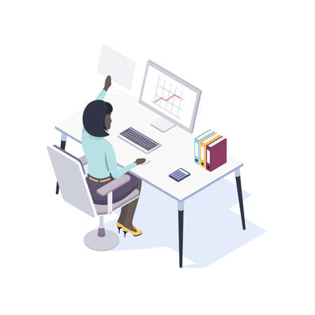 Afro-American Female Office Worker Seating at the Desk Using Mouse and Computer. View from the Back. Vector Illustration in Isometric Style. Ilustração