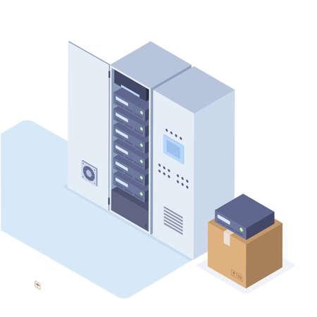 Illustration vectorielle en style isométrique d'une armoire de serveurs et d'une boîte avec de nouveaux serveurs Banque d'images - 94797279
