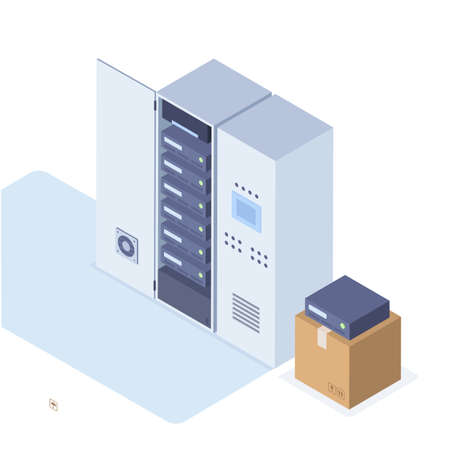 Vector Illustration in Isometric Style of a Server Cabinets and a Box with New Servers