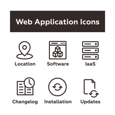 Set of Vector Icons in Outline Flat Style. Includes Geo Location Tag, Web Based Software, IaaS Icon, Changelog, Installation, Updates. Ilustração
