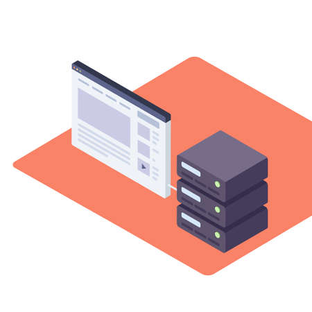 Illustration vectorielle en style isométrique d'un serveur Web et d'un navigateur avec un site Web. Banque d'images - 94797282