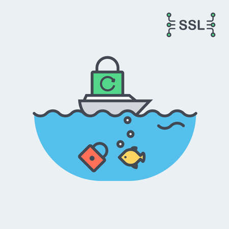 Conceptual Vector Illustration of The SSL or TLS Certificate. Depicting New Standards of Internet Security Which Require Data Encryption Through HTTPS Protocol. Includes Sea, Boat, Padlock, Fish. Illustration