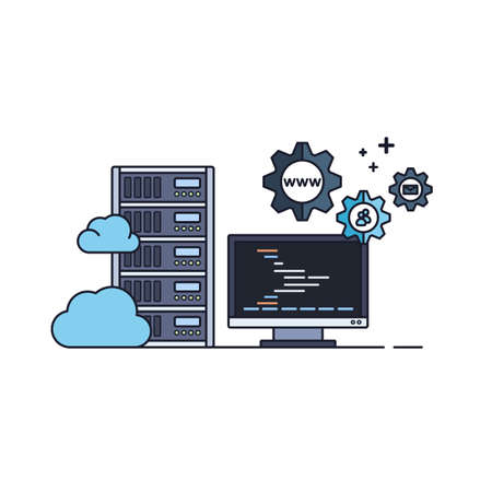 Administration of Server and Cloud Hosting Service. Vector Illustration in Flat Outline Style. Vectores