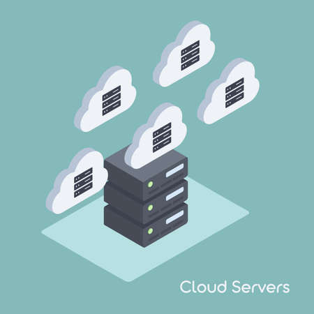 Cloud Data Migration or Server Infrastructure Management. Vector Illustration in Flat Isometric Style.