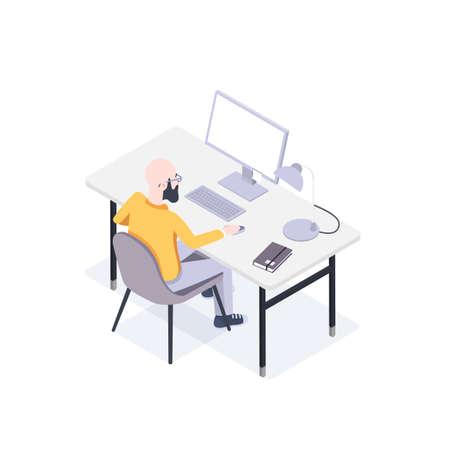 Man sièges à un ordinateur dans son vecteur de style de travail à plat dans un style plat isométrique Banque d'images - 97525201