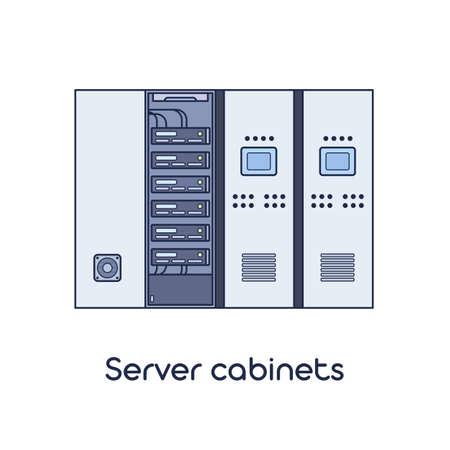 Server Room with Cabinets. Vector Illustration in Flat Outline Style. Reklamní fotografie - 97523974