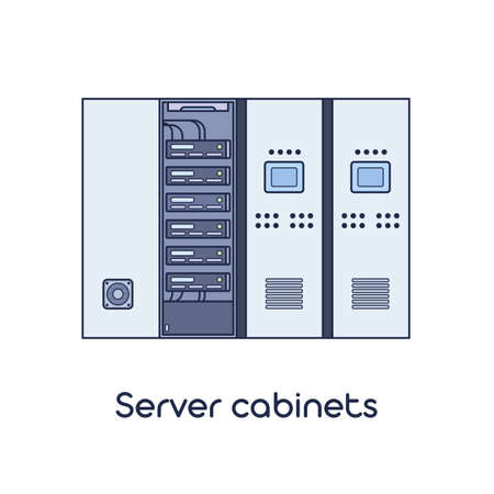 Server Room with Cabinets. Vector Illustration in Flat Outline Style.