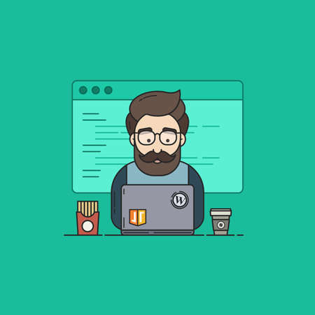 JavaScript Coder with Laptop