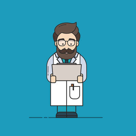 Flat Vector Illustration in Outline Style of a Male Doctor with a Beard, Who is Checking Medical Test Results Banque d'images - 127719283