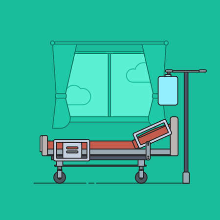 Flat Vector Illustration in Outline Style of a Hospital Couch for Patients Ilustração