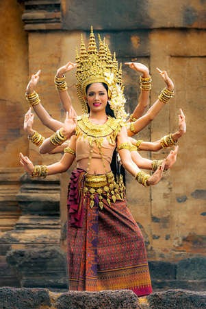 ANGKOR WAT, CAMBODIA -  MAY 20, 2016 : CLASSICAL KHMER DANCERS. Dancers entertain visitors with a classical Khmer dance at Angkor Wat, Cambodia. Editorial