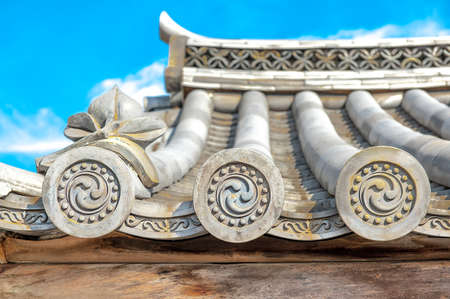 precast: Ornate design end pieces of roof tiles in traditional Japanese and Chinese Architectures. They are for protective and decorative purposes, also known as �WADANG� in Japan.