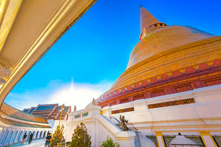 vihara: Phra Pathom Chedi is a stupa in the town center of Nakhon Pathom province. It is the tallest stupa in Thailand. The stupa is covered entirely with orange glazed tiles.