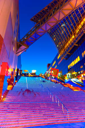 Halloween Illumination at Kyoto Station. Kyoto station, Japan - October 17, 2016: Colourful Halloween lighting display on the 171 steps of grand staircase at shopping mall level inside the station.