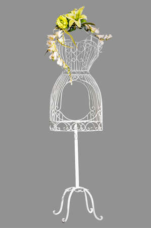 Vintage Mannequin : Old retro wirework mannequin on isolated grey background with clipping path.