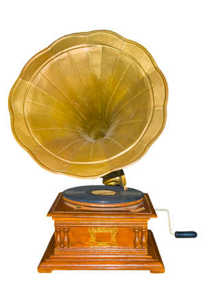 Vintage Gramophone : old retro gramophone isolated white background with clipping path.
