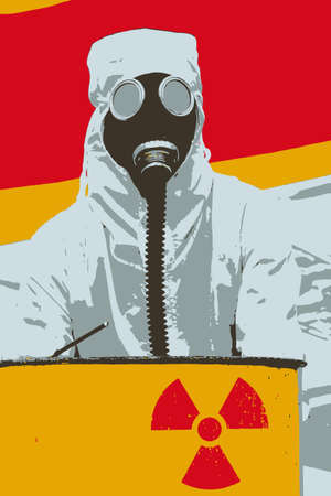 Digital graphic illustration of a man in bio-hazard suit and gas mask standing behind a rusty tank with nuclear symbol screened on.