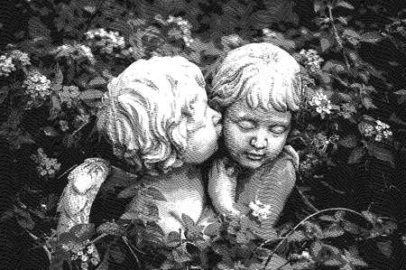 ANGELS IN LOVE - Digital graphic illustration. Digital graphic illustration – engraved line art style, of boy and girl angels surrounded with flowers hugging and cuddling. The boy angel is kissing her by the cheek. Stock Photo