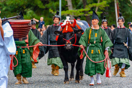 Kyoto, Japan - October 22, 2016: Festival of The Ages, an ancient costume parade held annually. Each participant dressed in an authentic costume of a character in different Japanese feudal periods.