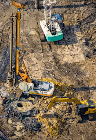 Aerial view of concrete bored pile foundation work on a construction site. Stock fotó