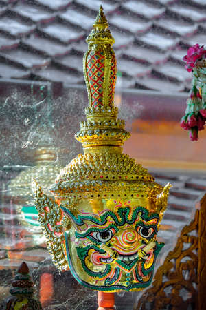 Khon mask. A mask worn over a pantomime's head during a Thai traditional dance drama. Each mask represents a character such as monstrous beasts, devils, heroes, heroes, ogres, monkeys, etc.