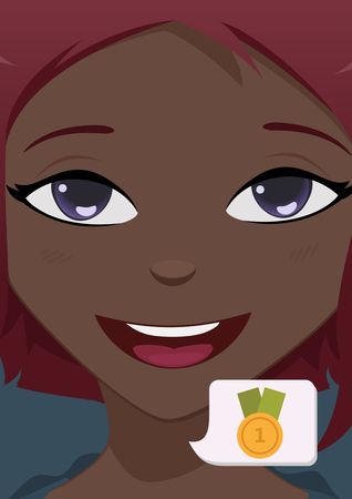 asian afro: Close-up woman face Illustration