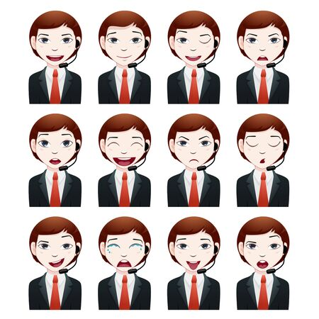 face with headset: businessman avatar set