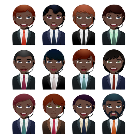 goatee: businessman avatar set