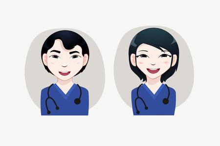 japanesse: Nurse Avatars vector illustration