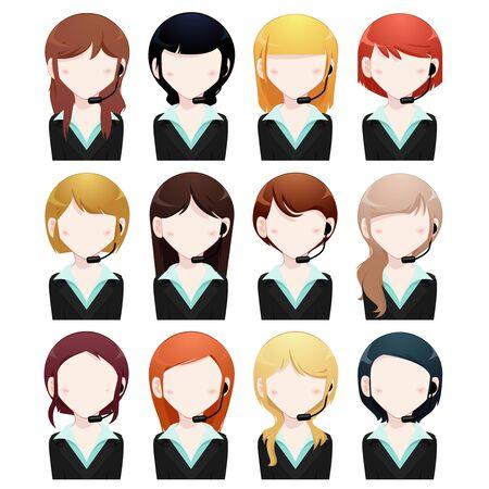 customer support: business woman avatar set