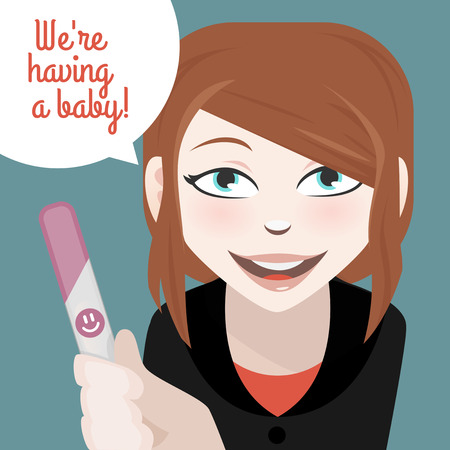 the result pregnancy test: Woman with a positive pregnancy test