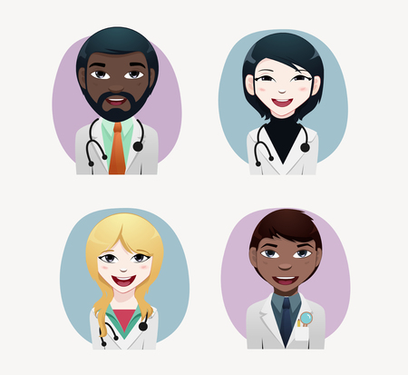 chinese american ethnicity: Medical people vector illustration