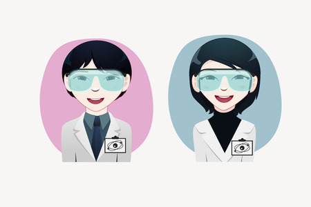japanesse: physicist professional vector illustration