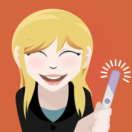pregnancy test: Woman with a positive pregnancy test