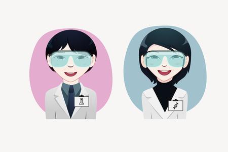 japanesse: Scientist vector illustration