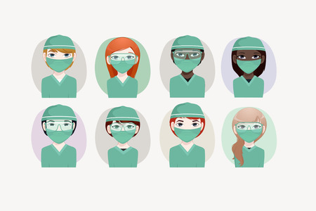 chinese american ethnicity: Surgeon vector illustration