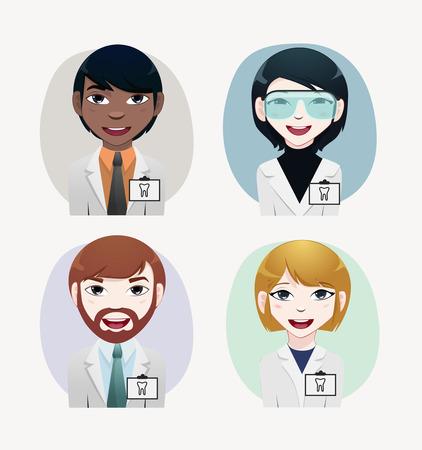 chinese american ethnicity: Dentist vector illustration Illustration