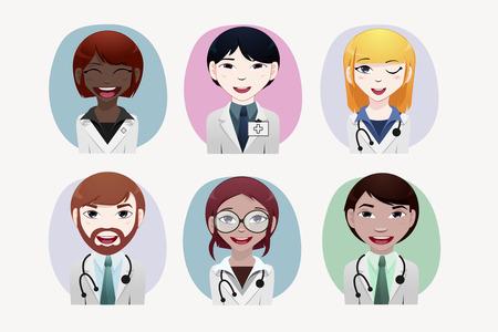 japanesse: Medical people vector illustration