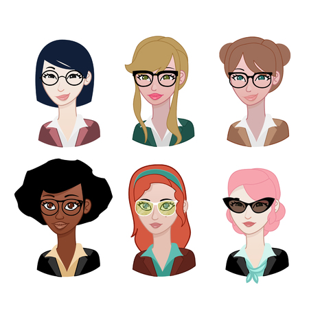asian business woman: Woman avatar: Glasses set
