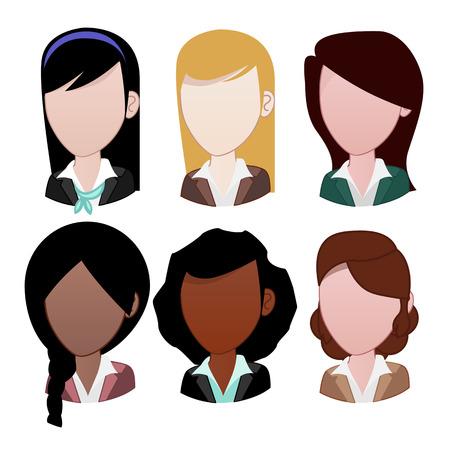 asian afro: Woman avatar: Faceless Illustration