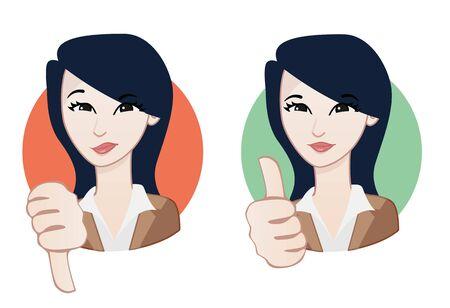 thumb down: Woman avatar: Thumb up and Thumb down