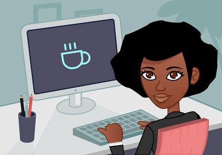 black coffee: businesswoman looking at the camera Illustration