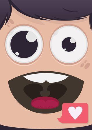 man close up: Man face vector illustration Illustration