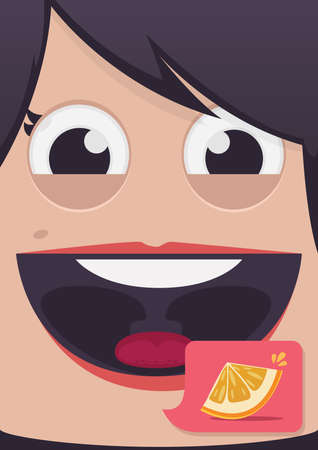 smile close up: Woman face vector illustration