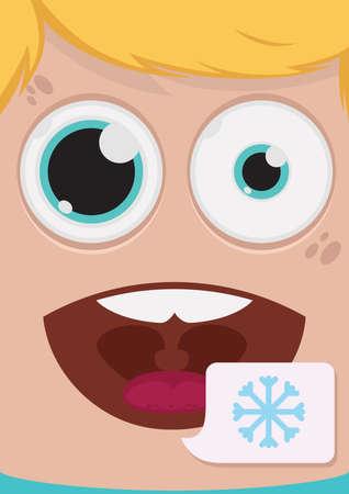 smile close up: Man face vector illustration Illustration
