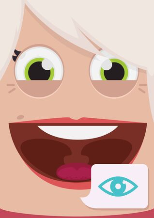 human eye close up: Woman face vector illustration
