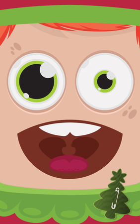 bobby pin: Christmas elf vector illustration Illustration