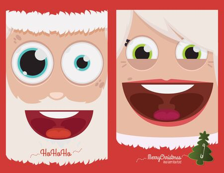 mr and mrs: Mr & Mrs Claus vector illustration