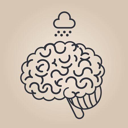 brain illustration: Brain concept illustration: sadness Illustration