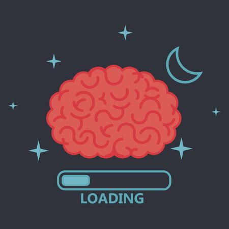 brain illustration: Brain concept illustration: loading Illustration